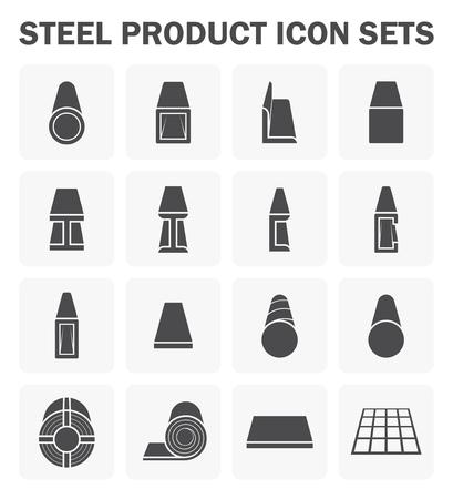 Stalen product en bouwmateriaal icoon sets.