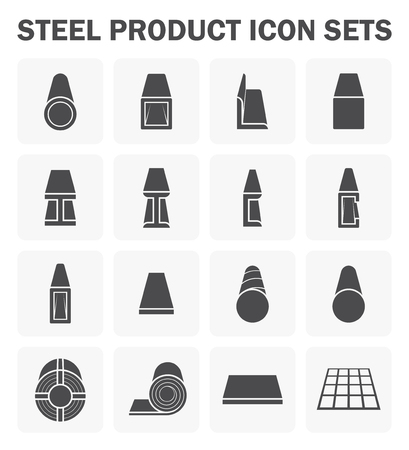 steel structure: Steel product and construction material icon sets.