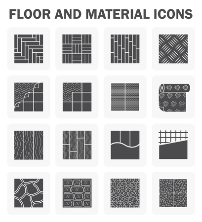 Floor and material icons sets. 向量圖像