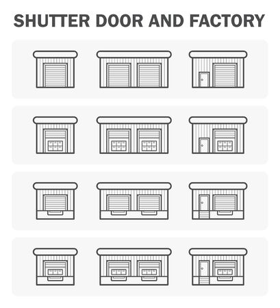 house icon: Shutter door and factory icon sets.