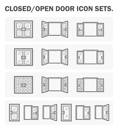 Closed/open door icon sets.