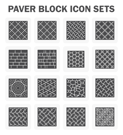 Paver block and stone icon sets.