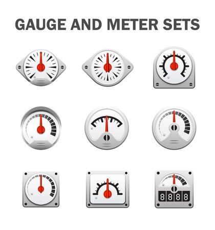 gauge or meter sets. Stock Illustratie
