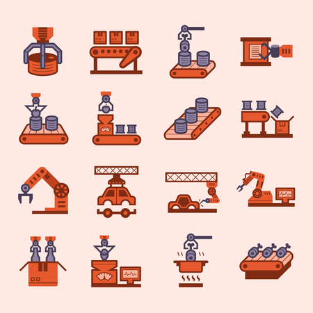 industrial icon: Robot and conveyor belt icons sets.