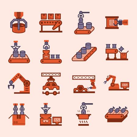 cinta transportadora: Robot y cinta transportadora iconos conjuntos. Vectores