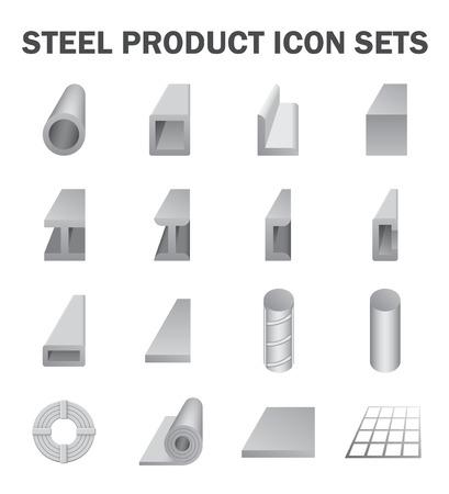 Stahlprodukt und Baumaterial Icon-Sets. Vektorgrafik