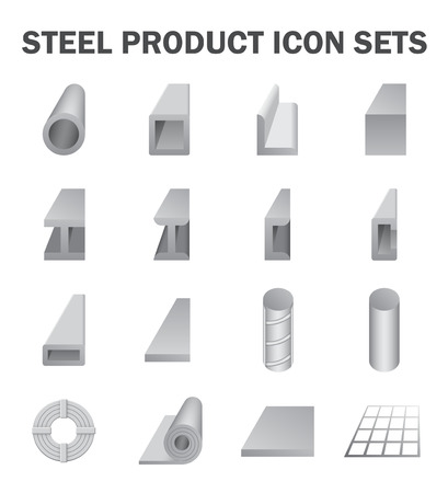 construction material: Steel product and construction material icon sets.