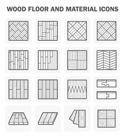 wooden desk: Wood floor and material icon sets design.