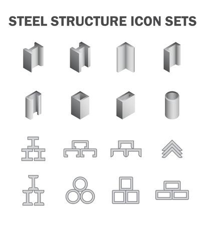 acero: Estructura de acero y el icono del tubo de conjuntos. Vectores