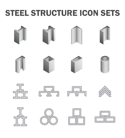 steel structure: Steel structure and pipe icon sets.