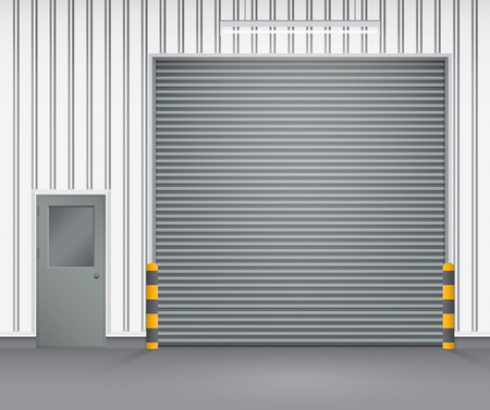 security room: shutter door and steel door outside factory, dark gray color.