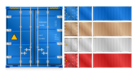 shipping port: cargo container isolated on white background.