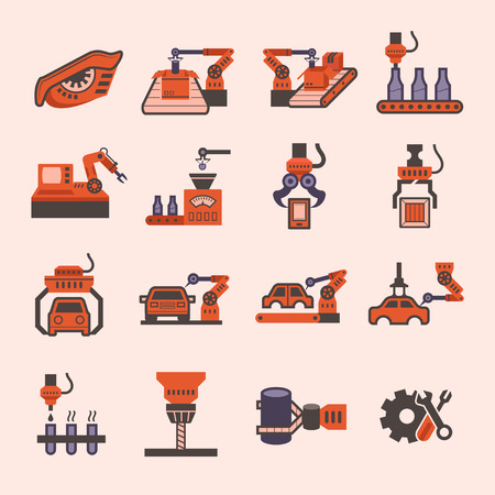 automatic: Manufacture and robot icon sets.