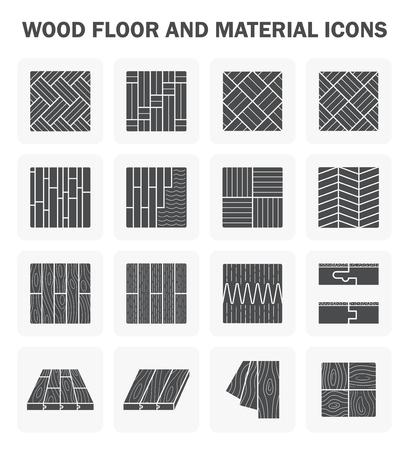 Plancher de bois et de matériel icône définit le design.