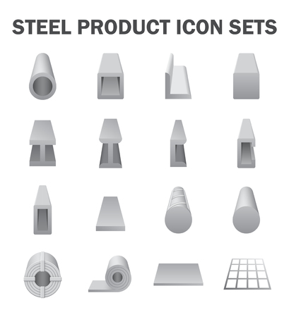 steel plate: Steel product and construction material icon sets.