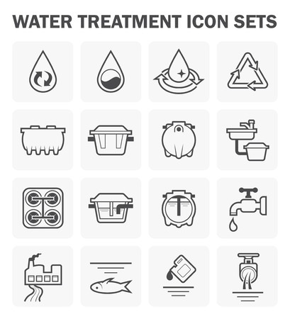treatment: Water treatment icon sets design.
