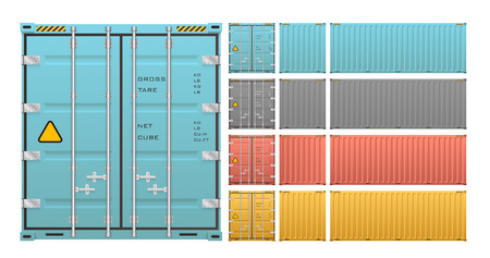 cargo container isolated on white background. Imagens - 52521535
