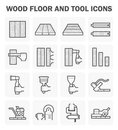 Wood floor and tool icon sets design.