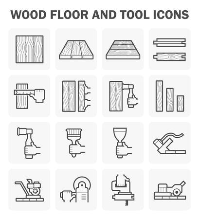 Podłoga z drewna i ustawia ikonę narzędzia projektowania.