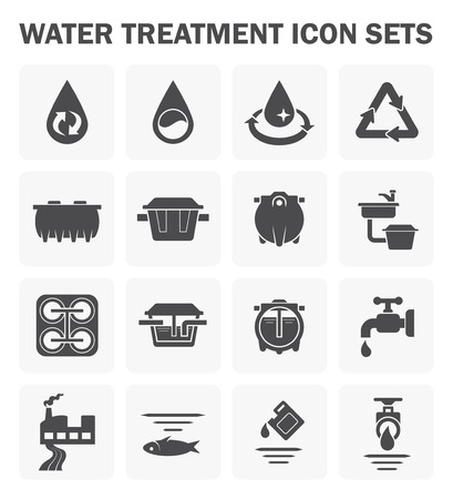 dirty house: Water treatment icon sets design.