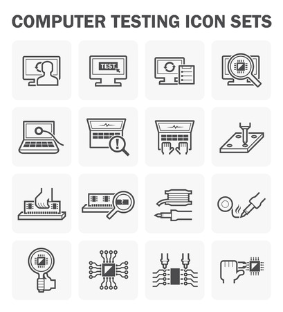computer part: Computer testing icon sets design.
