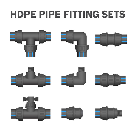 HDPE pipe fitting sets.
