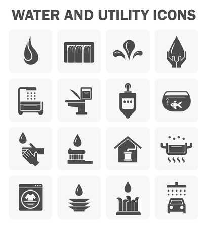 rainwater: Water and utility icons design. Illustration