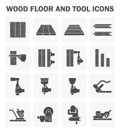 Houten vloer en het gereedschap icoon stelt ontwerp.
