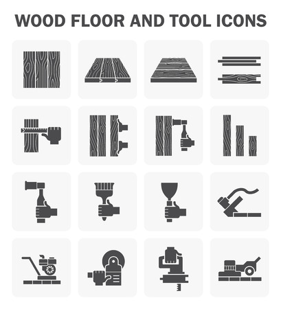 tool: Wood floor and tool icon sets design.