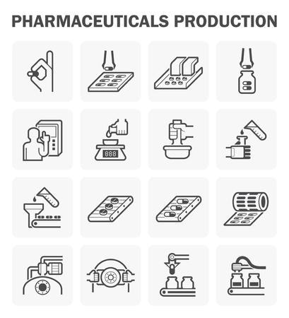 Pharmaceutical production icon sets design. Stock Illustratie