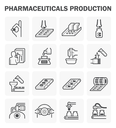 the test: Pharmaceutical production icon sets design. Illustration