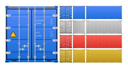 貨物コンテナーは、白い背景で隔離。  イラスト・ベクター素材