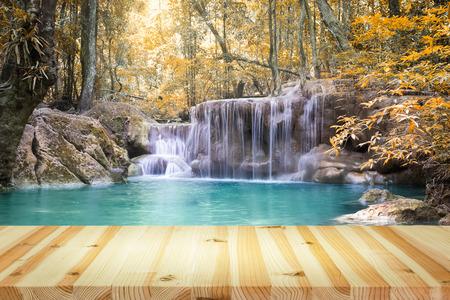 color tone: Scenery of Erawan waterfall, vintage color tone.
