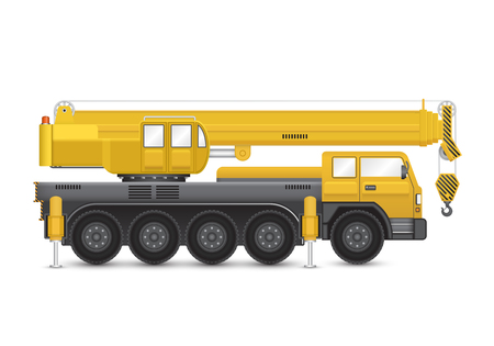 mobile crane isolated on white background.