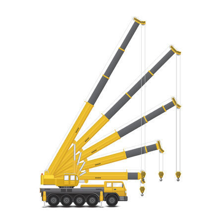Vector of mobile crane isolated on white background.