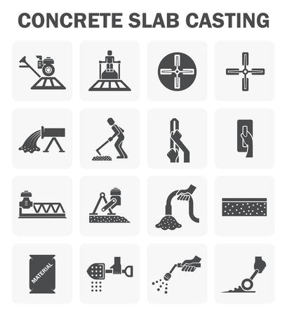 Concrete floor casting icon sets.