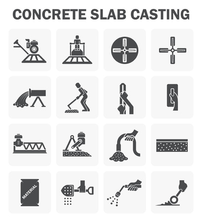 construction equipment: Concrete floor casting icon sets. Illustration