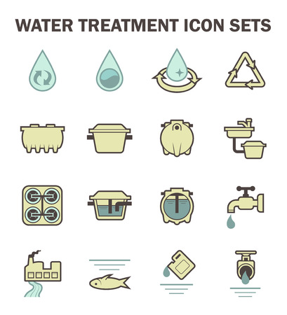 Water treatment vector icon sets design. Çizim