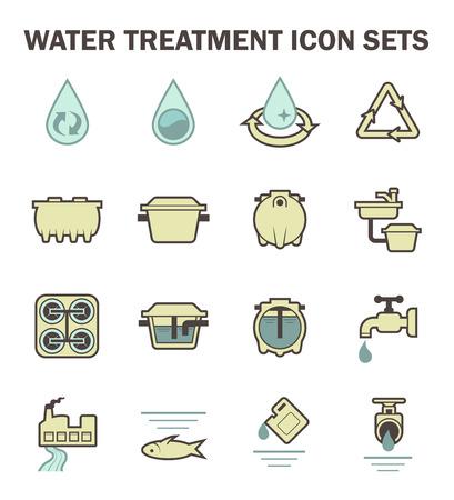 Water pollution: xử lý nước bộ icon vector thiết kế.