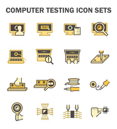semiconductors: Computer testing vector icon sets design.