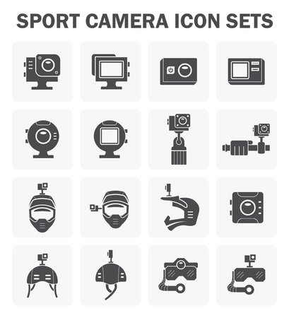 to go: Sport camera and accessory icon sets. Illustration