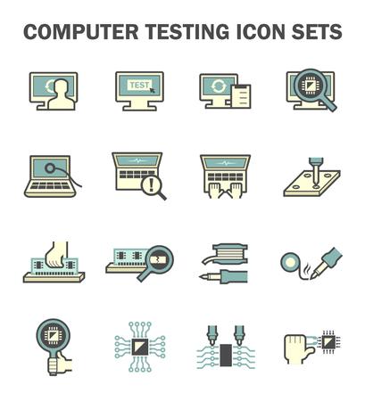 solder: Computer testing vector icon sets design.