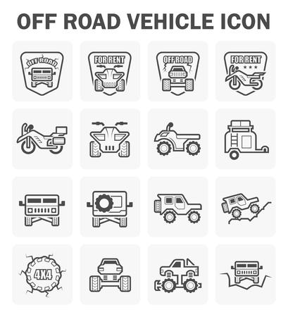 Off road vehicle icon set. Vector Illustration