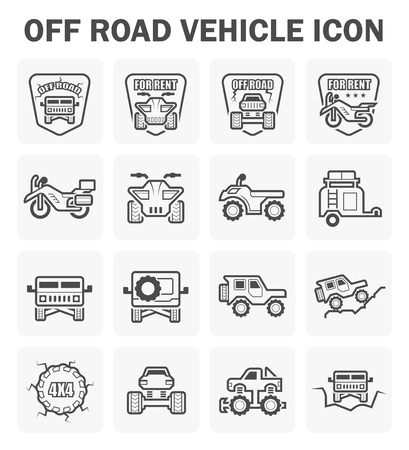 Off road vehicle icon set.