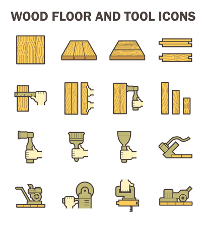 ash: Wood floor and tool vector icon sets design.