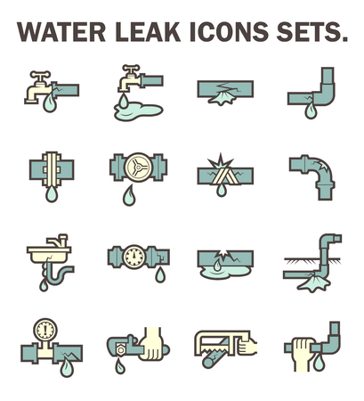 pipe wrench: Water leak vector icons sets design. Illustration