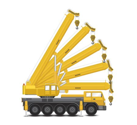 overhang: Vector of mobile crane isolated on white background.