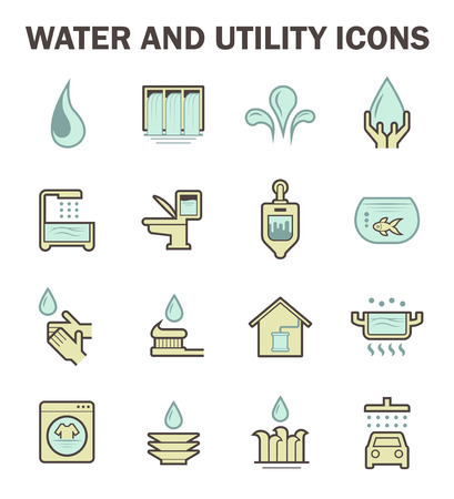 Water and utility vector icons design.