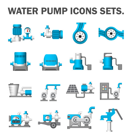 submerged: Water pump vector icons sets. Illustration