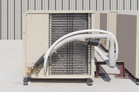 ventilate: Air compressor machine on concrete floor.